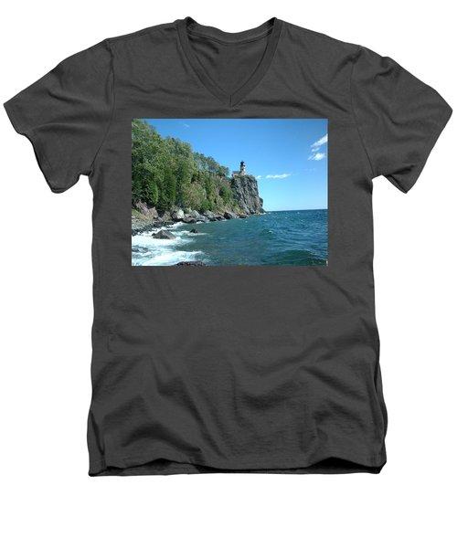 Men's V-Neck T-Shirt featuring the photograph Split Rock by Bonfire Photography