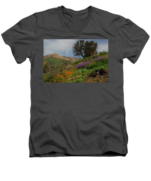 Men's V-Neck T-Shirt featuring the photograph Spring In Santa Barbara by Lynn Bauer