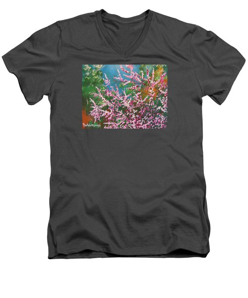 Men's V-Neck T-Shirt featuring the painting Springs Blossoms  by Dan Whittemore