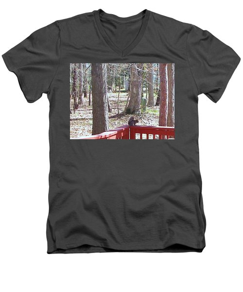 Men's V-Neck T-Shirt featuring the photograph Squirrel Waiting by Pamela Hyde Wilson