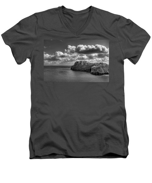 Men's V-Neck T-Shirt featuring the photograph St Catherines Rock Tenby by Steve Purnell