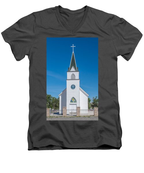 Men's V-Neck T-Shirt featuring the photograph St. John The Evangelist Catholic Church by Fran Riley
