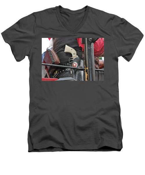 Men's V-Neck T-Shirt featuring the photograph Stagecoach Guard by Bill Owen