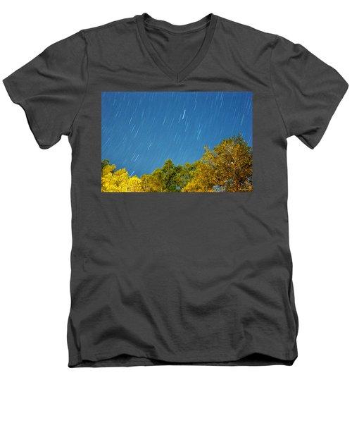 Star Trails On A Blue Sky Men's V-Neck T-Shirt by Kay Lovingood
