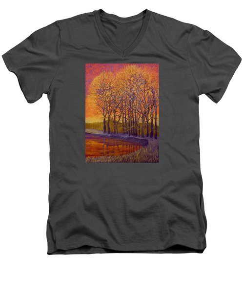 Still Waters Men's V-Neck T-Shirt by Jeanette Jarmon