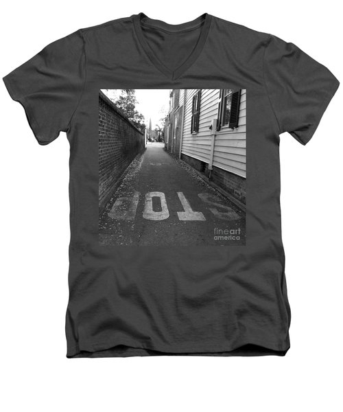 Men's V-Neck T-Shirt featuring the photograph Stop by Andrea Anderegg