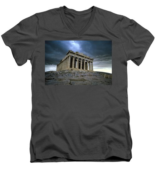 Storm Over The Parthenon Men's V-Neck T-Shirt