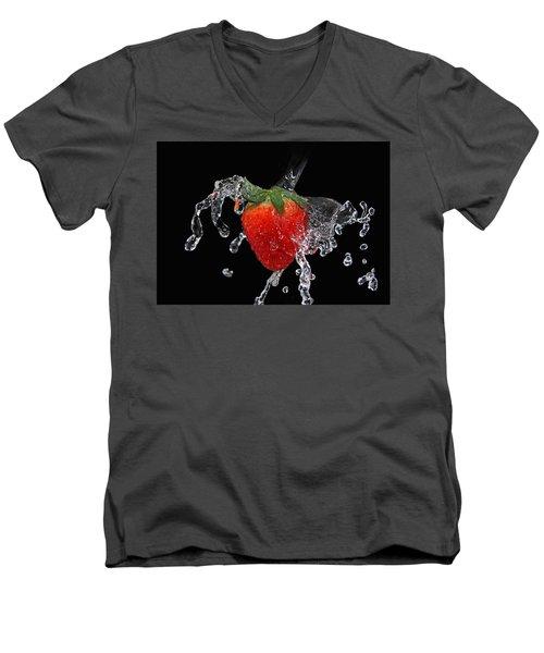 Strawberry-splash Men's V-Neck T-Shirt