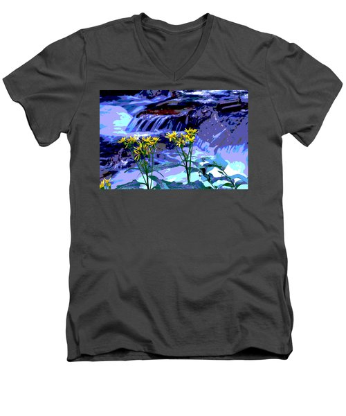 Stream And Flowers Men's V-Neck T-Shirt