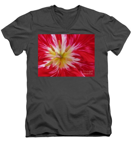 Striped Flaming Tulips. Hot Pink Rio Carnival Men's V-Neck T-Shirt