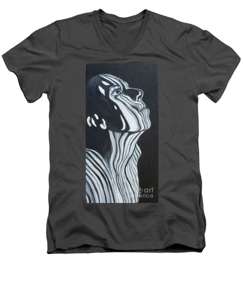 Men's V-Neck T-Shirt featuring the painting Stripes by Julie Brugh Riffey