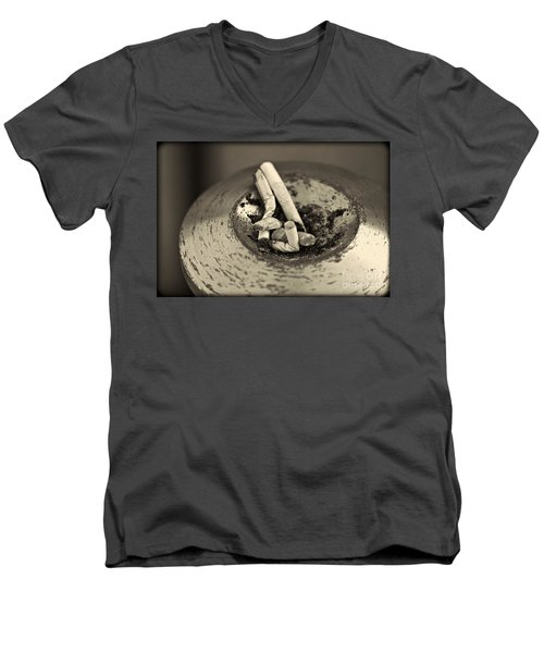 Men's V-Neck T-Shirt featuring the photograph Stubbed Out. by Clare Bambers