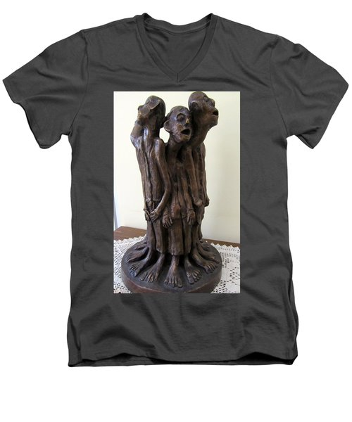 Suffering Circle In Bronze Sculpture Men In Rugs Standing In A Circle With Suffering Faces Crying  Men's V-Neck T-Shirt by Rachel Hershkovitz