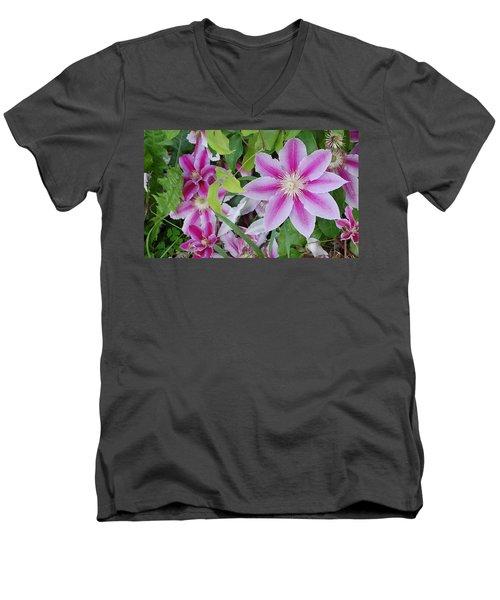 Summer Clematis Men's V-Neck T-Shirt