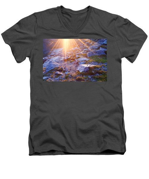 Men's V-Neck T-Shirt featuring the photograph Sunburst Over Abyss Lake by Jim Garrison