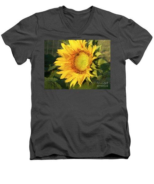 Men's V-Neck T-Shirt featuring the digital art Sunflower Digital Art by Deniece Platt