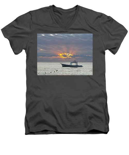 Men's V-Neck T-Shirt featuring the photograph Sunrise - Puerto Morelos by Sean Griffin