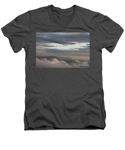 Sunrise In The Mountains Men's V-Neck T-Shirt by Jeannette Hunt