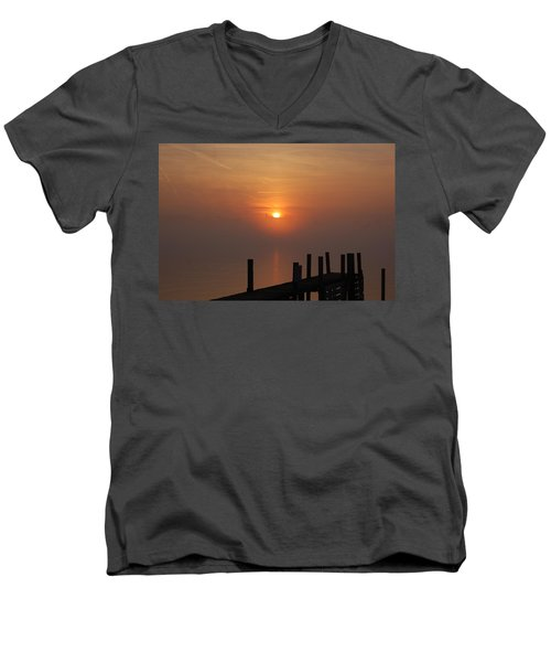 Sunrise On The River Men's V-Neck T-Shirt by Randy J Heath