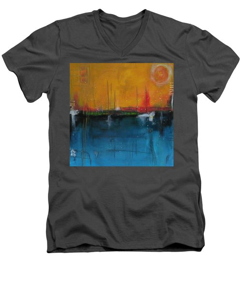 Sunset At The Lake  # 1 Men's V-Neck T-Shirt by Nicole Nadeau