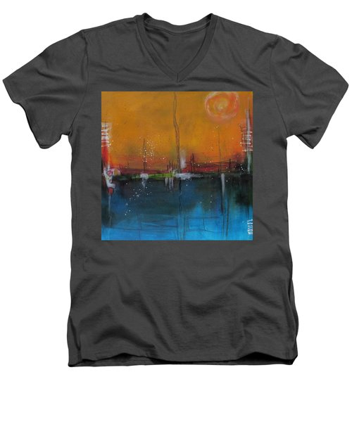 Sunset At The Lake # 2 Men's V-Neck T-Shirt by Nicole Nadeau