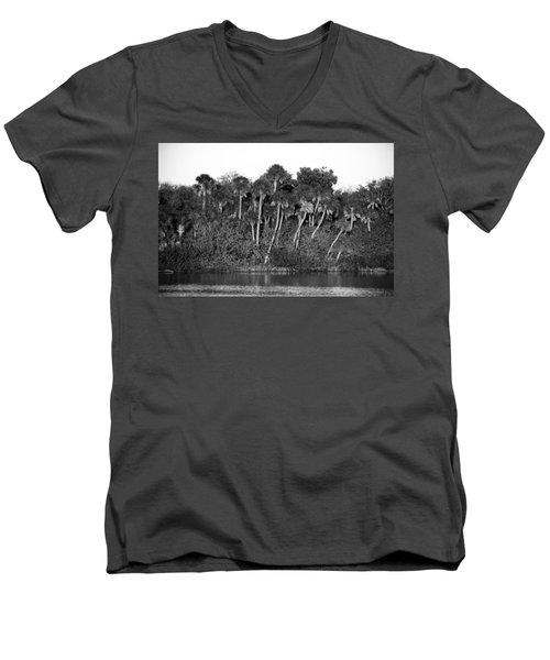 Sunset Black And White Men's V-Neck T-Shirt by Rich Franco