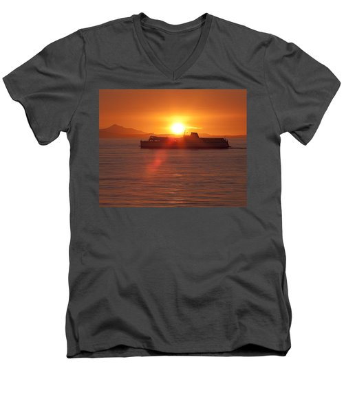 Men's V-Neck T-Shirt featuring the photograph Sunset by Eunice Gibb