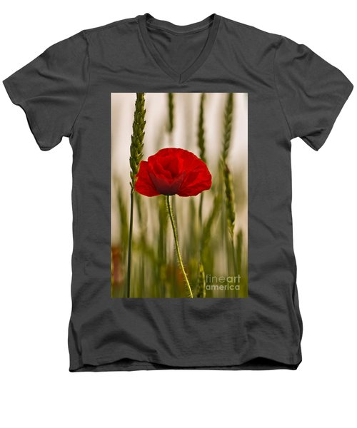 Men's V-Neck T-Shirt featuring the photograph Sunset Glow. by Clare Bambers