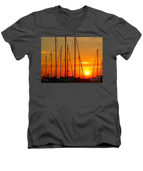Sunset In A Harbour Digital Photo Painting Men's V-Neck T-Shirt