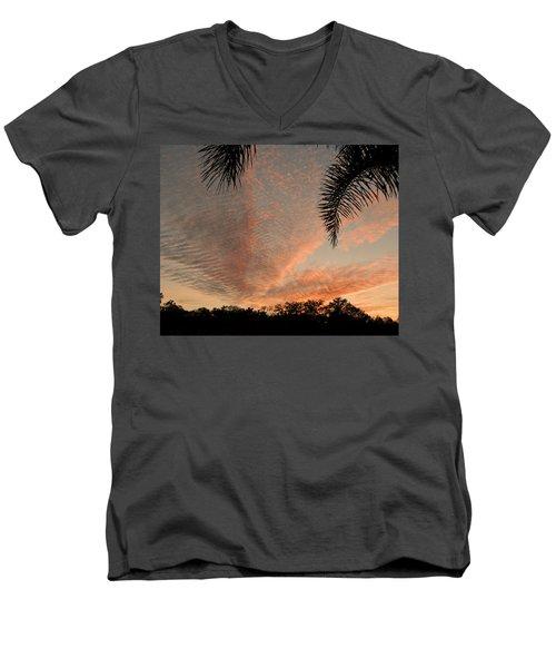 Sunset In Lace Men's V-Neck T-Shirt