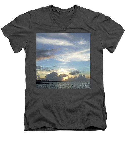 Men's V-Neck T-Shirt featuring the photograph Sunset In Majuro by Andrea Anderegg