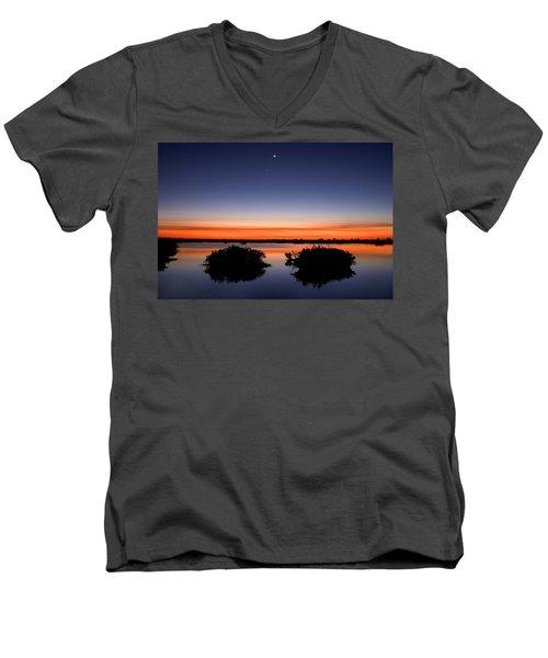 Sunset Moon Venus Men's V-Neck T-Shirt by Rich Franco