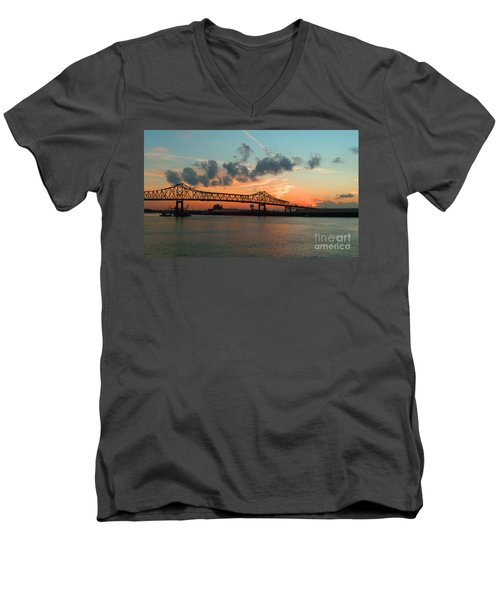 Sunset On The Mississippi  Men's V-Neck T-Shirt by Lydia Holly
