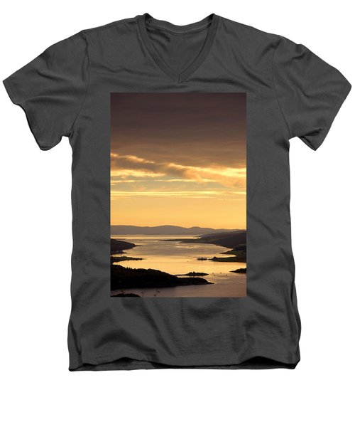 Men's V-Neck T-Shirt featuring the photograph Sunset Over Water, Argyll And Bute by John Short