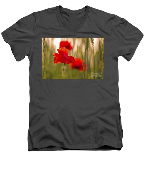 Men's V-Neck T-Shirt featuring the photograph Sunset Poppies. by Clare Bambers