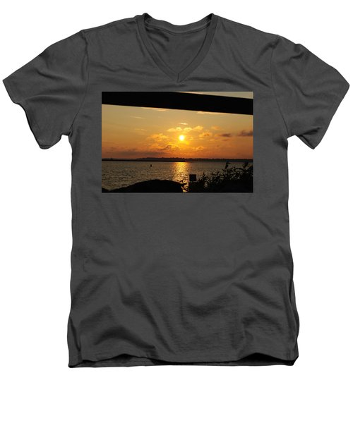 Men's V-Neck T-Shirt featuring the photograph Sunset Through The Rails by Michael Frank Jr