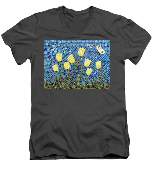 Men's V-Neck T-Shirt featuring the painting Sunshine by Cynthia Amaral