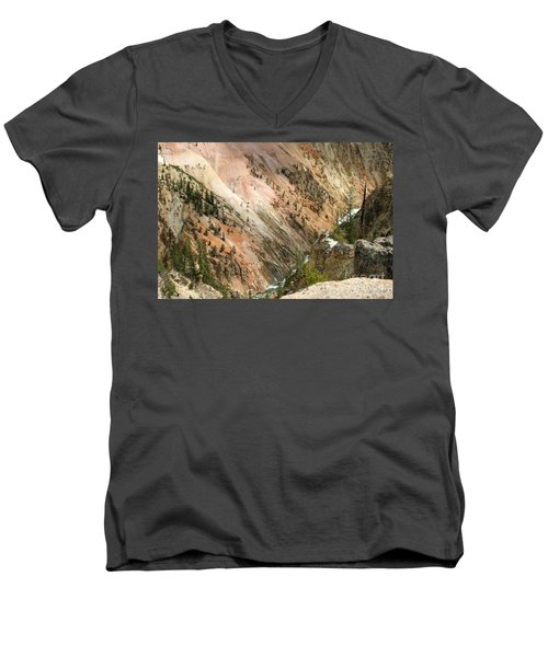 Men's V-Neck T-Shirt featuring the photograph Sunshine On Grand Canyon In Yellowstone by Living Color Photography Lorraine Lynch