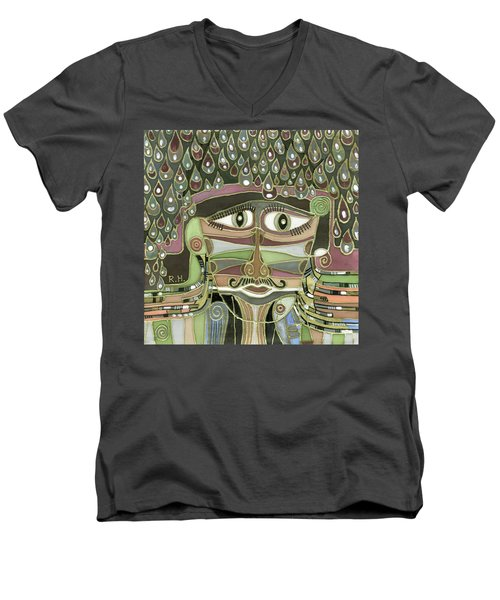 Surprize Drops Surrealistic Green Brown Face With  Liquid Drops Large Eyes Mustache  Men's V-Neck T-Shirt by Rachel Hershkovitz