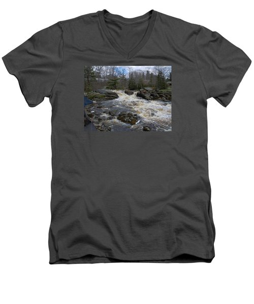 Men's V-Neck T-Shirt featuring the photograph Surry Falls by Francine Frank