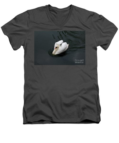 Men's V-Neck T-Shirt featuring the photograph Swan On Black Water by Les Palenik