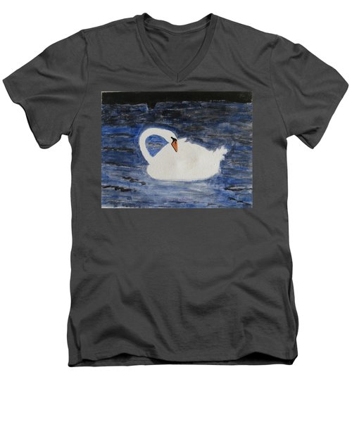 Men's V-Neck T-Shirt featuring the painting Swan  by Sonali Gangane