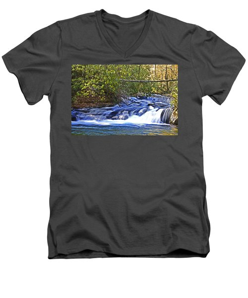 Men's V-Neck T-Shirt featuring the photograph Swiftly Flowing River by Susan Leggett
