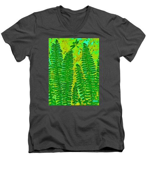 Sword Fern Fossil-green Men's V-Neck T-Shirt