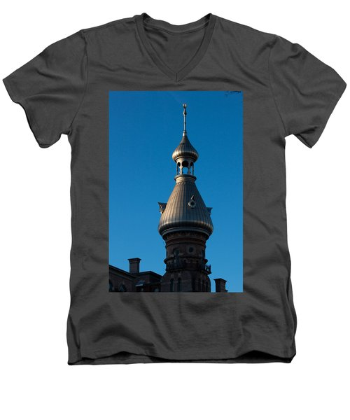 Men's V-Neck T-Shirt featuring the photograph Tampa Bay Hotel Minaret by Ed Gleichman