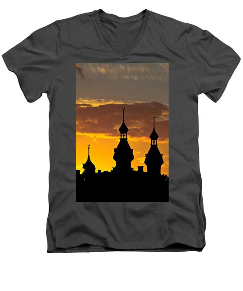 Men's V-Neck T-Shirt featuring the photograph Tampa Bay Hotel Minarets At Sundown by Ed Gleichman
