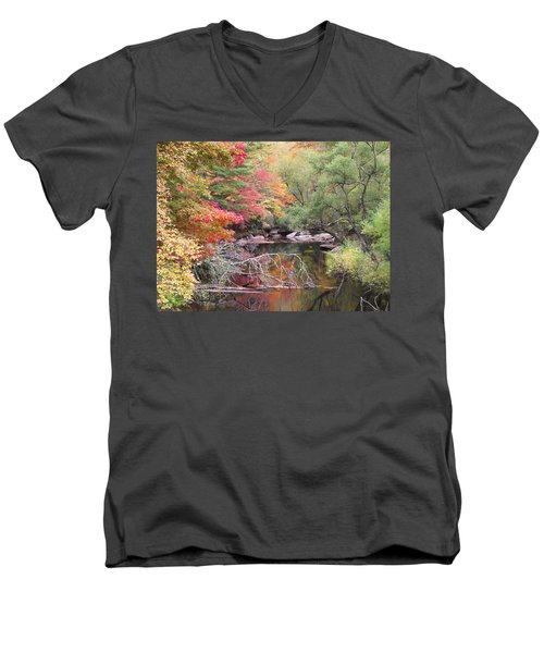 Tanasee Creek In The Fall Men's V-Neck T-Shirt