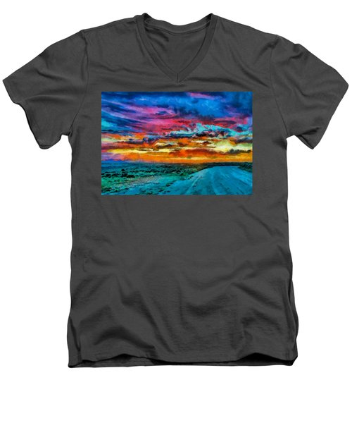 Taos Sunset Iv Wc Men's V-Neck T-Shirt