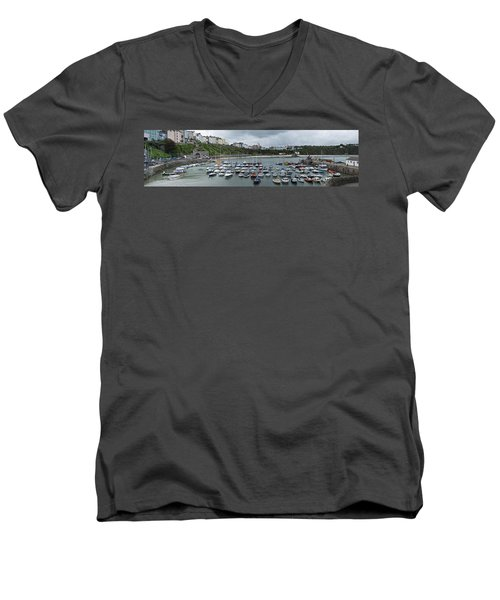 Men's V-Neck T-Shirt featuring the photograph Tenby Harbour Panorama by Steve Purnell