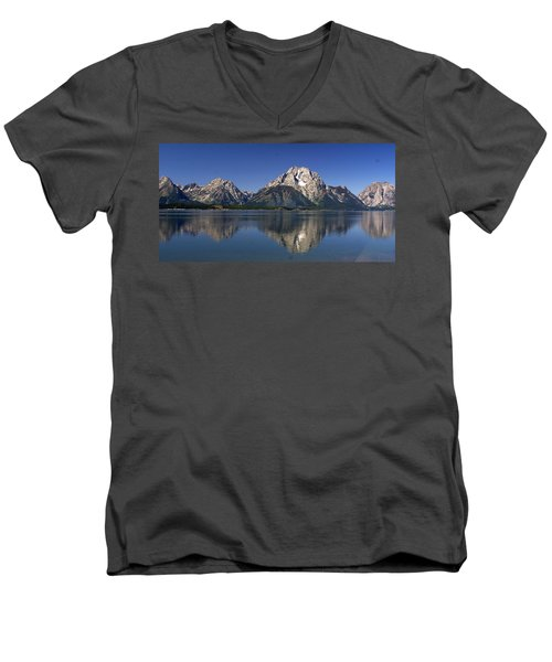 Men's V-Neck T-Shirt featuring the photograph Teton Panoramic View by Marty Koch
